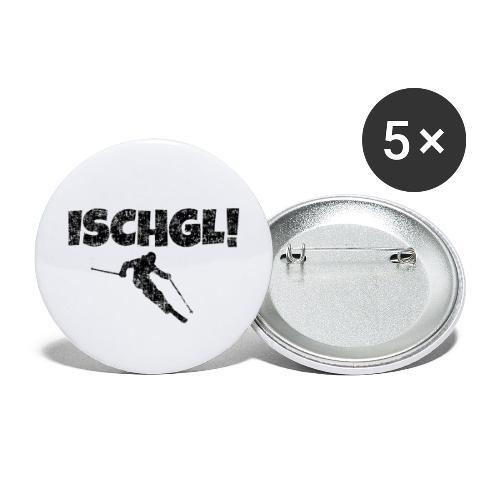 Ischgl Skifahrer (Schwarz) Apres-Ski Wintersport - Buttons groß 56 mm (5er Pack)