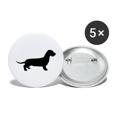 Rauhhaardackel - Buttons groß 56 mm (5er Pack)