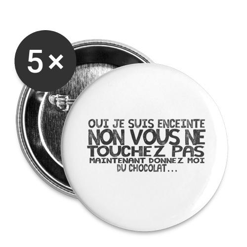 T-Shirt-Femme-Enceinte-Chocolat - Lot de 5 grands badges (56 mm)