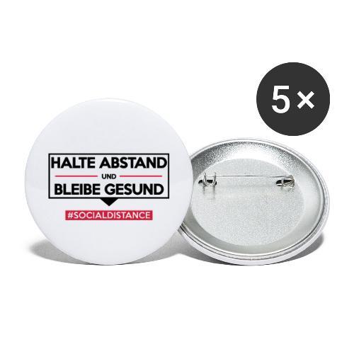 Halte ABSTAND und bleibe GESUND. www.sdShirt.de - Buttons groß 56 mm (5er Pack)