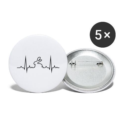EKG Herzschlag Hase Kaninchen Zwergkaninchen - Buttons groß 56 mm (5er Pack)