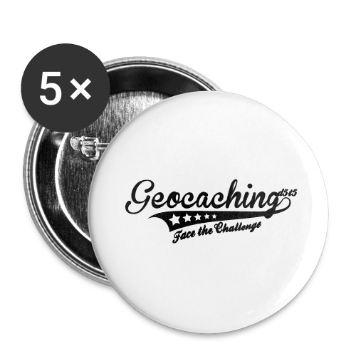 Geocaching - Face the Challenge - Buttons groß 56 mm (5er Pack)