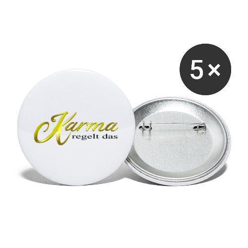 Karma regelt das Gold - Buttons groß 56 mm (5er Pack)