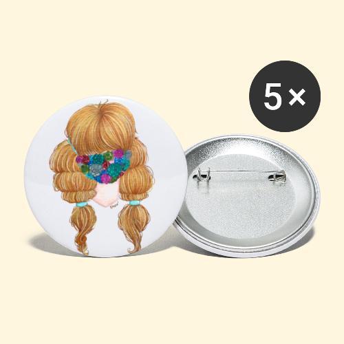 Fille masquée aux succulentes - Lot de 5 grands badges (56 mm)