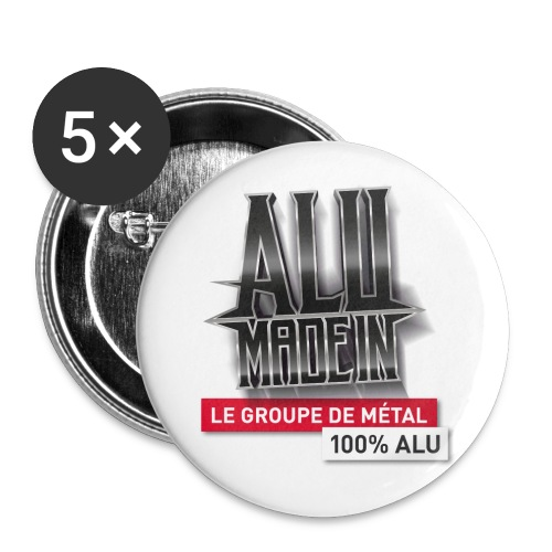 LOGO ALU MADE IN 02 - Lot de 5 grands badges (56 mm)