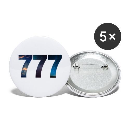 777 un nombre qui apporte chance et spiritualité - Lot de 5 grands badges (56 mm)