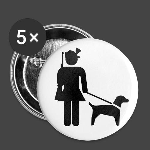 """Hundeführerin""-Jägerinnen Shirt - Buttons groß 56 mm (5er Pack)"