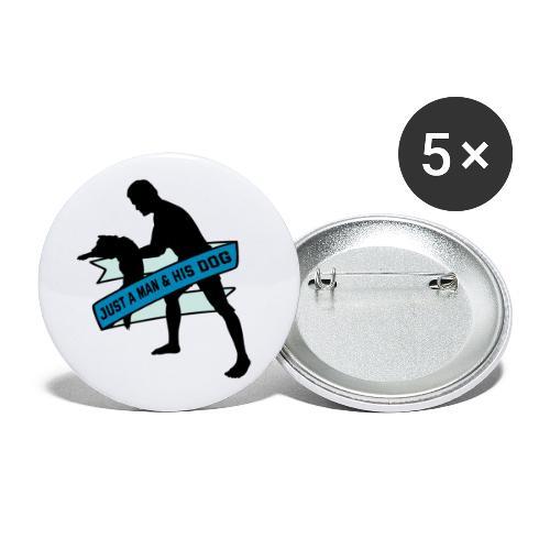 A Man & His Dog - Herrchen Hund Geschenkidee - Buttons groß 56 mm (5er Pack)