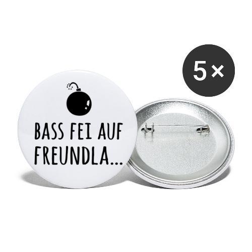 Bass fei auf Freundla - Buttons groß 56 mm (5er Pack)