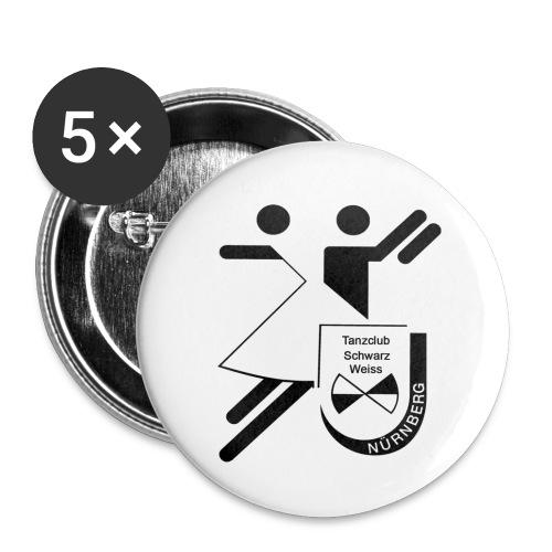 Schwarz Weiss gross - Buttons groß 56 mm (5er Pack)