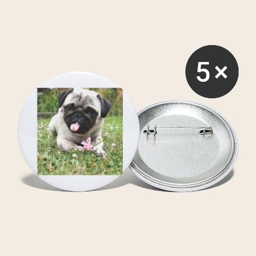 Mops Wiese - Buttons groß 56 mm (5er Pack)