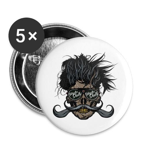 hipster skull tete de mort crane barbu moustache - Lot de 5 grands badges (56 mm)