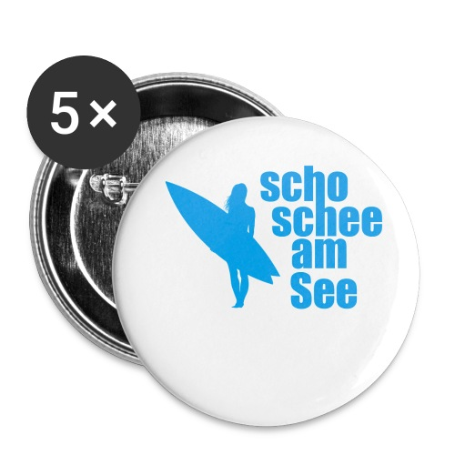 scho schee am See Surferin 03 - Buttons groß 56 mm (5er Pack)