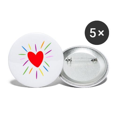 Heart - Paquete de 5 chapas grandes (56 mm)