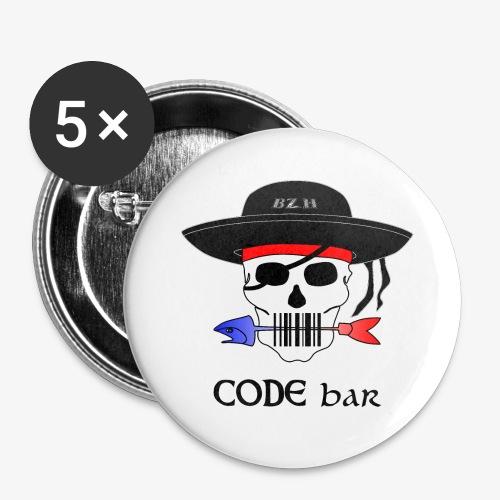 Code Bar couleur - Lot de 5 grands badges (56 mm)