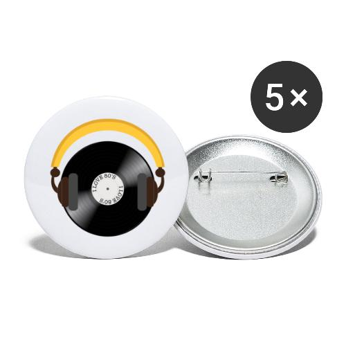 Retro Vinyl Record with headphone!. - Buttons/Badges stor, 56 mm (5-pack)