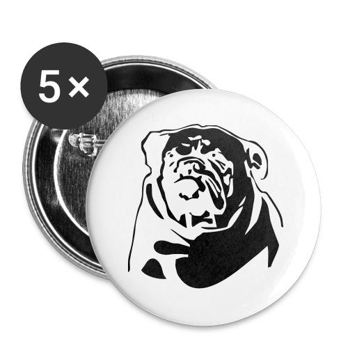 English Bulldog - negative - Rintamerkit isot 56 mm (5kpl pakkauksessa)