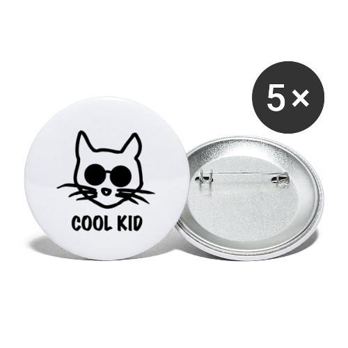 Cool Kid Cat - Stora knappar 56 mm (5-pack)