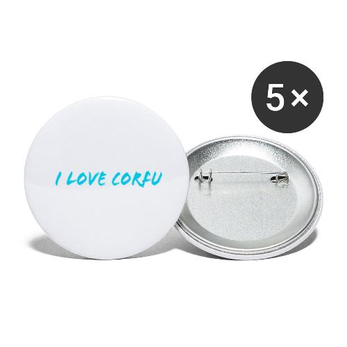 I Love Corfu Griechenland - Buttons groß 56 mm (5er Pack)