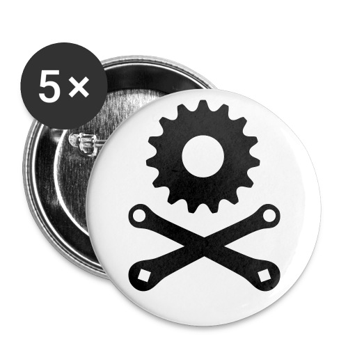 skullgearsmall - Buttons large 2.2''/56 mm(5-pack)