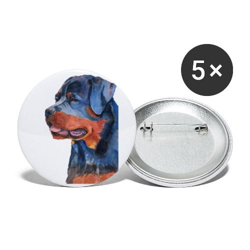 rottweiler - F - Buttons/Badges stor, 56 mm (5-pack)