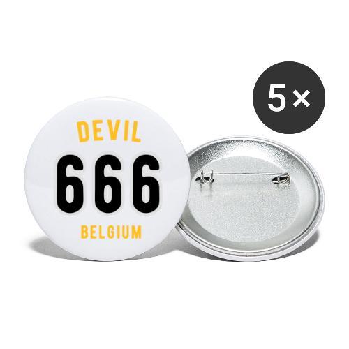 666 devil Belgium - Lot de 5 grands badges (56 mm)