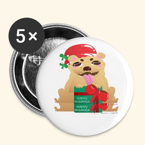 Pug-liday! - Buttons large 2.2''/56 mm (5-pack)