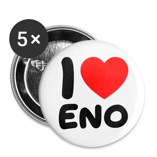 I love Eno / musta - Rintamerkit isot 56 mm (5kpl pakkauksessa)