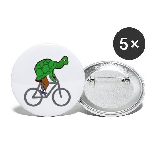 Schildkröte fährt Rad - Buttons groß 56 mm (5er Pack)