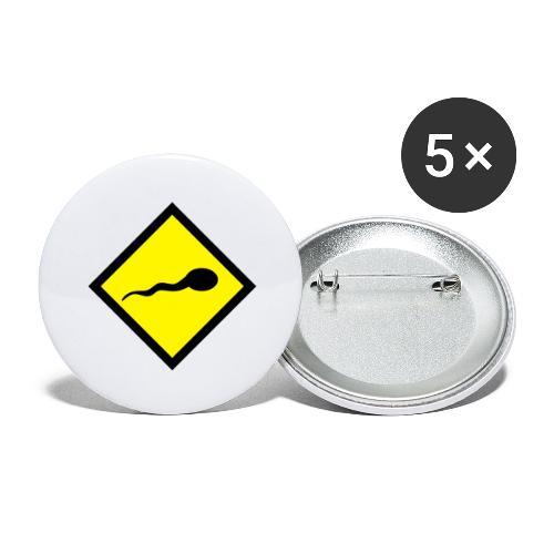 sperm warning - Buttons groot 56 mm (5-pack)