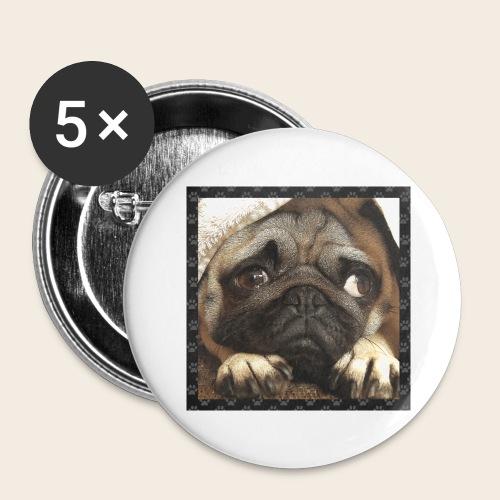 Mops Hund 1 - Buttons groß 56 mm (5er Pack)