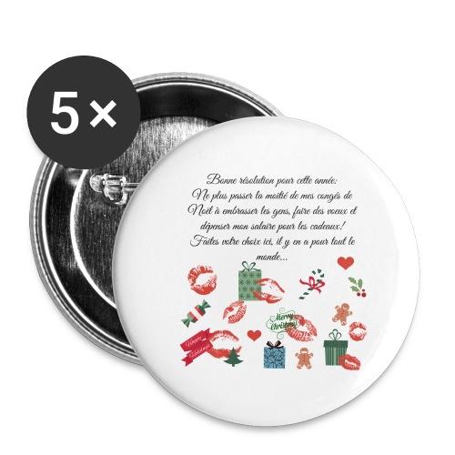Bonne resolution Noël Nouvel An - Lot de 5 grands badges (56 mm)