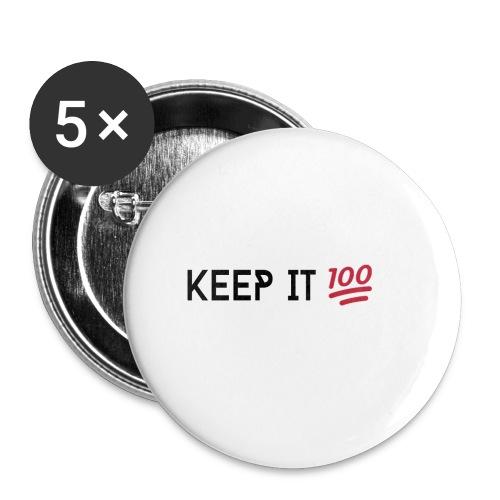 KEEP IT 100 ZWART png - Buttons groot 56 mm (5-pack)