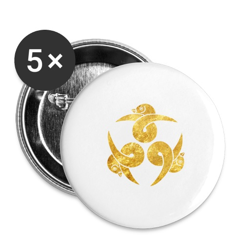 Three Geese Japanese Kamon in gold - Buttons large 2.2''/56 mm (5-pack)
