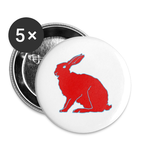 Roter Hase - Buttons groß 56 mm (5er Pack)