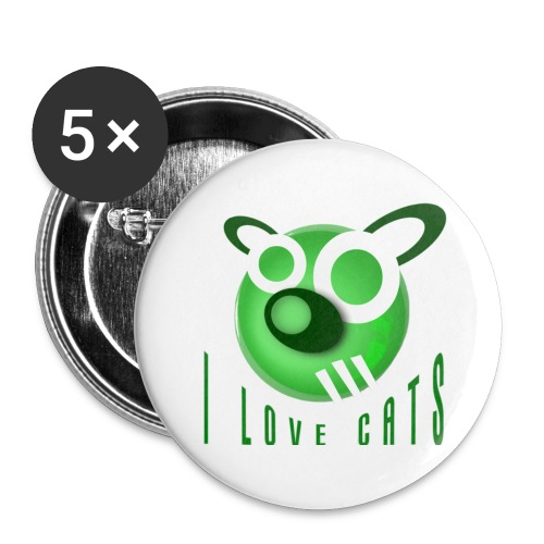 I Love Cats - Buttons large 2.2''/56 mm(5-pack)