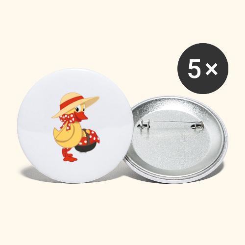 Schnatterinchen mit Korb - Buttons groß 56 mm (5er Pack)