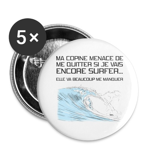 copine-surf - Lot de 5 grands badges (56 mm)