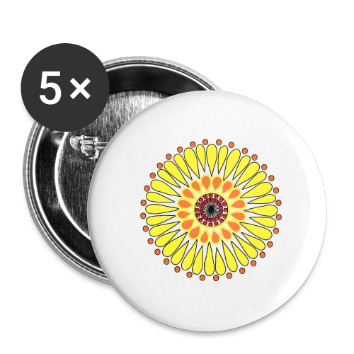 Yellow Sunflower Mandala - Buttons large 2.2''/56 mm(5-pack)