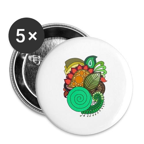 Coloured Leaf Mandala - Buttons large 2.2''/56 mm(5-pack)