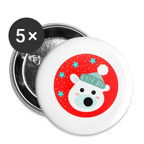 Winter bear - Buttons large 2.2''/56 mm(5-pack)