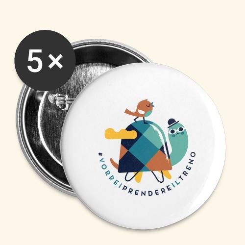 Tartaruga e uccellino - Confezione da 5 spille grandi (56 mm)