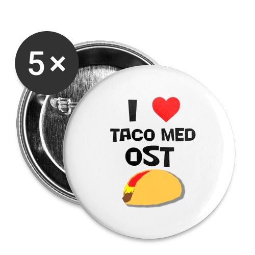 I love taco med ost - Stor pin 56 mm (5-er pakke)