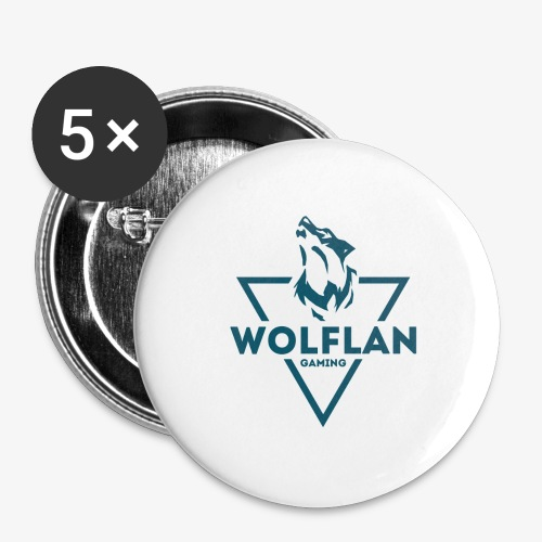 WolfLAN Logo Gray/Blue - Buttons large 2.2''/56 mm (5-pack)