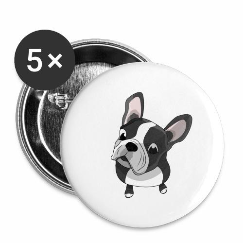 Bouledogue français - Lot de 5 grands badges (56 mm)