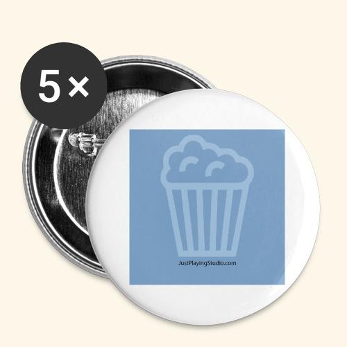 Badge bleu JustPlayingStudio.com - Lot de 5 grands badges (56 mm)
