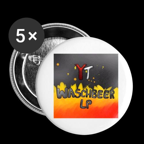Waschbeer Design 2# Mit Flammen - Buttons groß 56 mm (5er Pack)