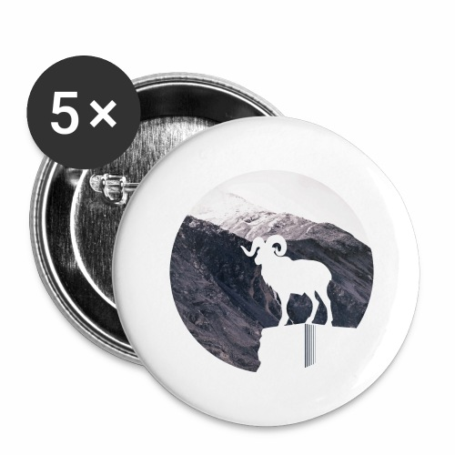 Hiking Outdoor Design mit Bergziege - Bergpanorama - Buttons groß 56 mm (5er Pack)