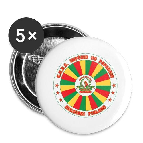 Papagaio drum logo - Rintamerkit isot 56 mm (5kpl pakkauksessa)