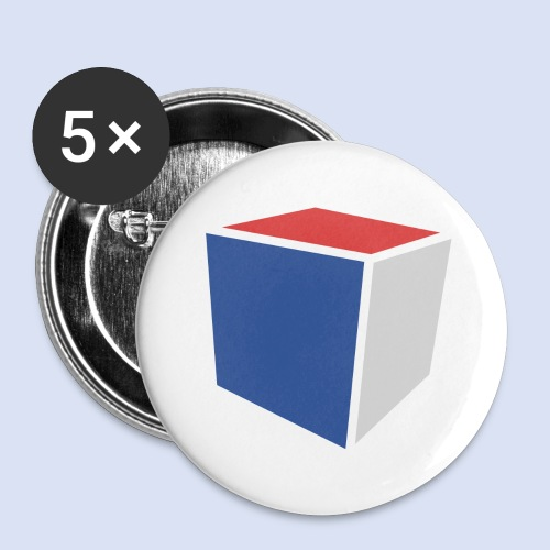 Cube Minimaliste - Lot de 5 grands badges (56 mm)